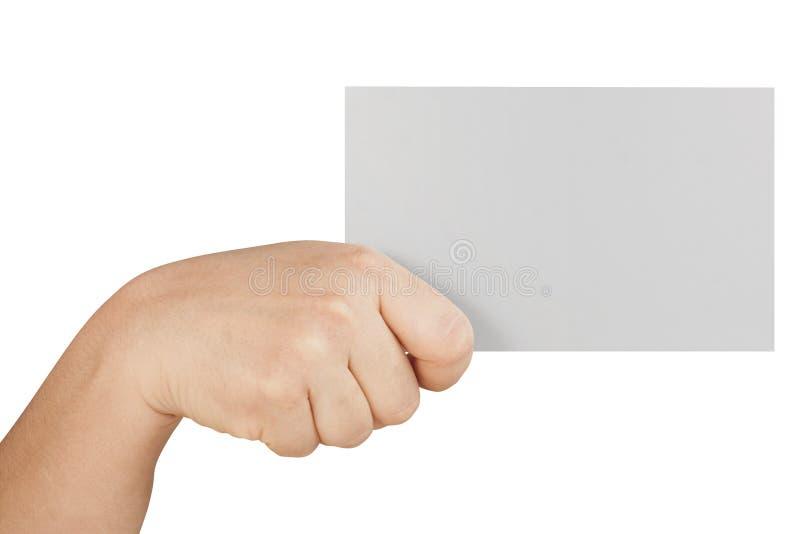 Weibliche Hand, die große leere Karte lokalisiert hält lizenzfreie stockfotografie