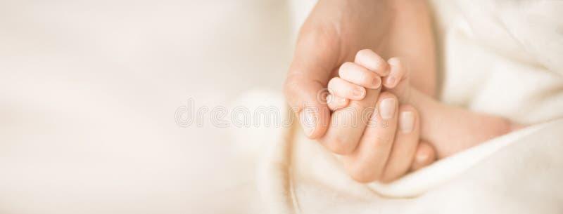 Weibliche Hand, die ihre neugeborene Baby ` s Hand hält Mutter mit ihrem Kind Mutterschaft, Familie, Geburtskonzept Kopieren Sie  stockfotografie