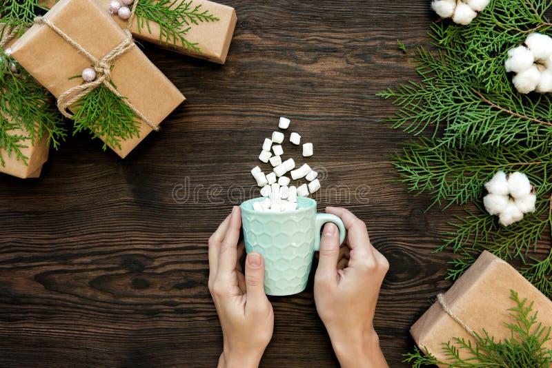 Weibliche Hand, die Schale Schokolade mit Eibisch hält stockfotos