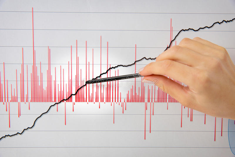 Weibliche Hand, die Stift auf einem weißen Diagramm zeigt stockfotografie