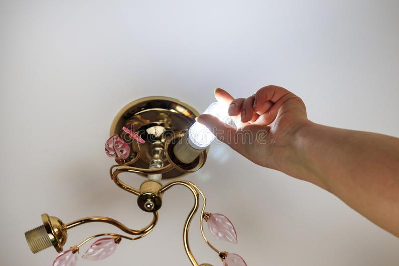 Weibliche Hand fügt eine Glühlampe in die Hülse mit Innengewinde ein sie glänzt Installation von Lampen des Haushalts LED der stockbild