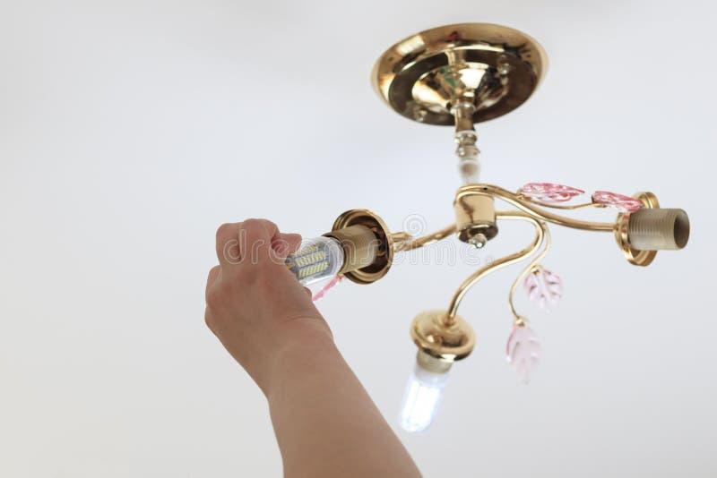 Weibliche Hand fügt eine Glühlampe in die Hülse mit Innengewinde ein sie glänzt Installation von Lampen des Haushalts LED der lizenzfreies stockbild