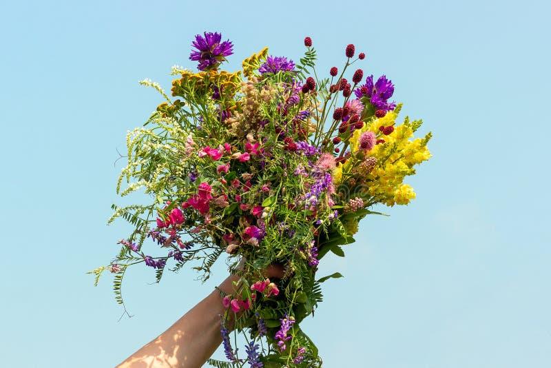 Weibliche Hand hält hellen bunten Blumenstrauß von wilden Blumen gegen blauen Himmel Der Tag der Frauen, Mutter-Tag, hallo Sommer stockbilder