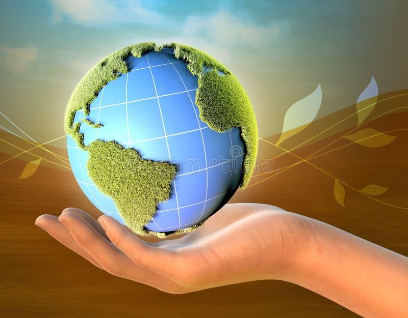 Weibliche Handholding-Planet Erde lizenzfreie abbildung