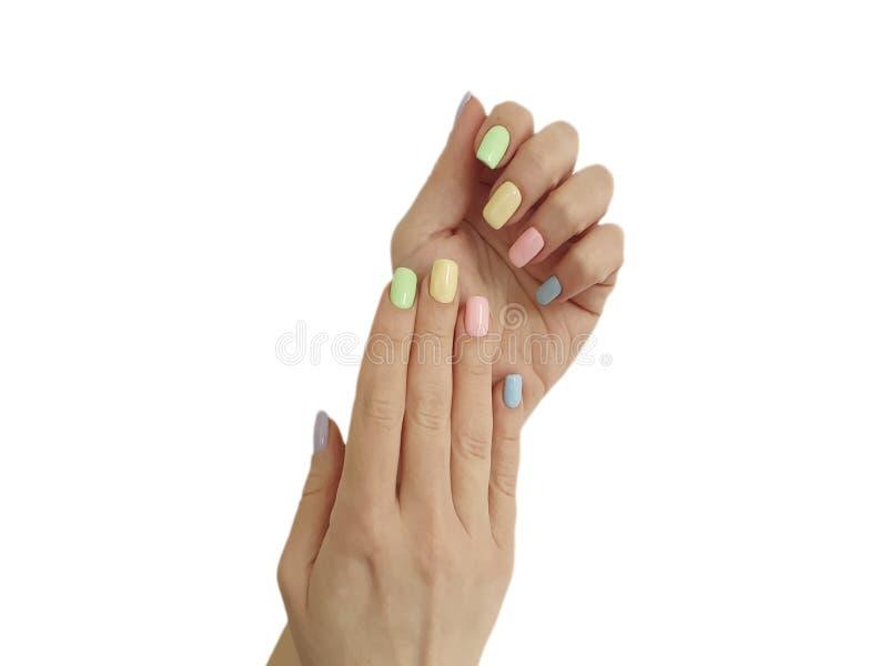 Weibliche Handmaniküre Weiblichkeit isoliert weißen Hintergrund stockbilder