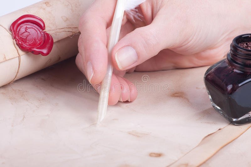 Weibliche Handschriftantikenspule stockbild