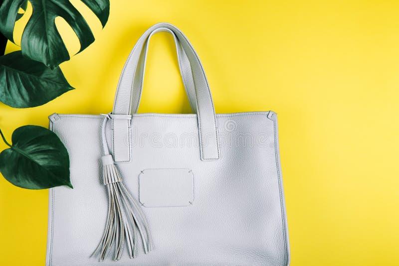 Weibliche Handtasche und grünes Blatt lizenzfreies stockfoto