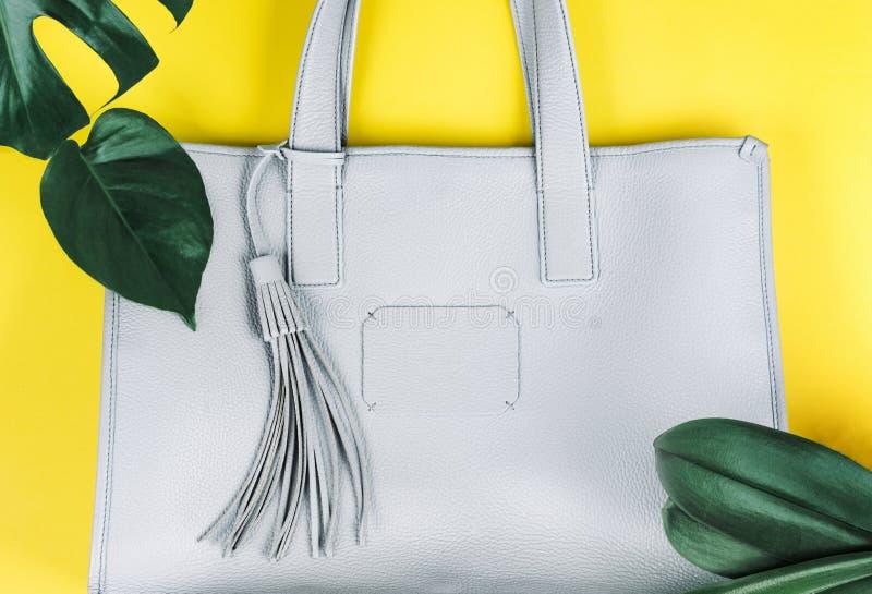 Weibliche Handtasche und grünes Blatt stockfotografie