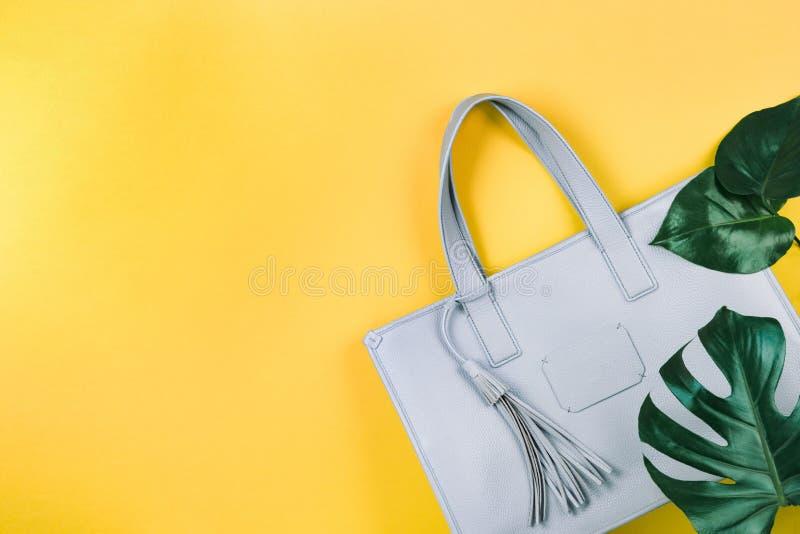 Weibliche Handtasche und gr?nes Blatt lizenzfreie stockbilder