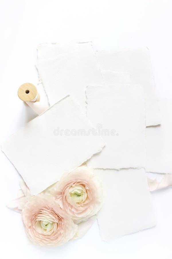 Weibliche Hochzeit, Geburtstagstischplattenmodellszene Leere Kraftpapiergrußkarten, Seidenband und erröten rosa Perser stockfotos
