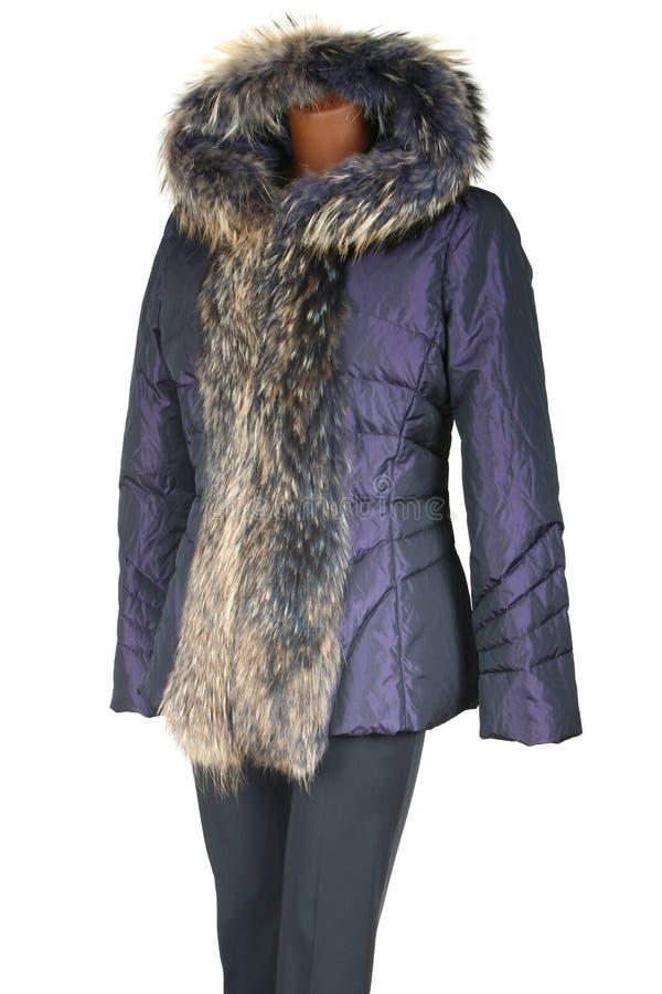 Weibliche Jacke getrimmt durch Pelz stockfoto