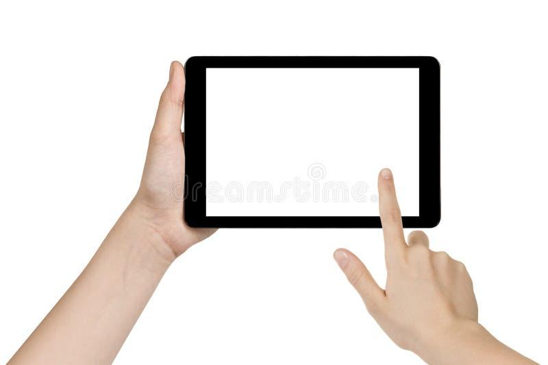 Weibliche jugendlich Hand, die generische Tablette hält stockbild