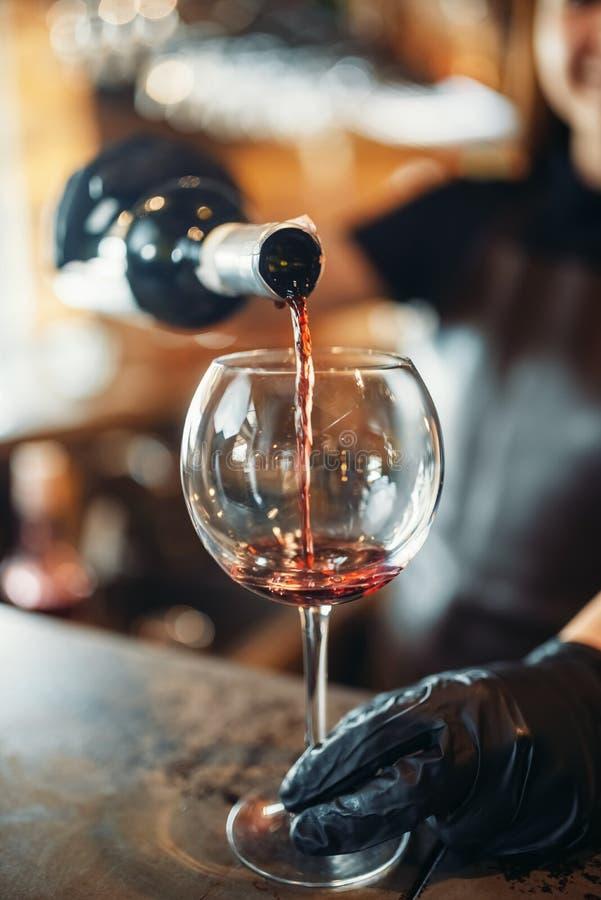 Weibliche Kellnerhände in den Handschuhen gießt Wein stockbilder