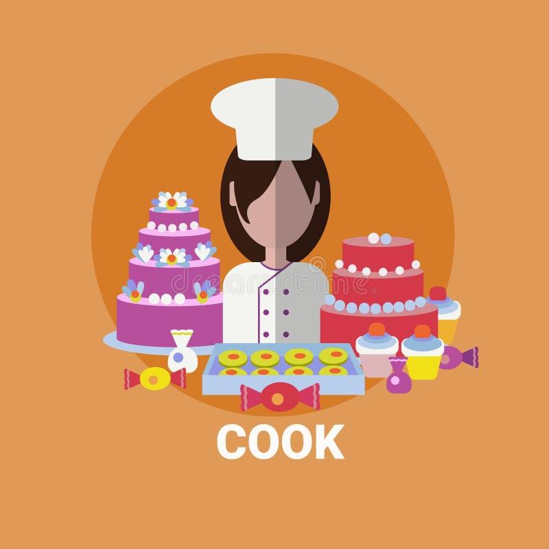 Weibliche Koch-Konditor-Cooking Meal Profile-Avatara-Ikone vektor abbildung