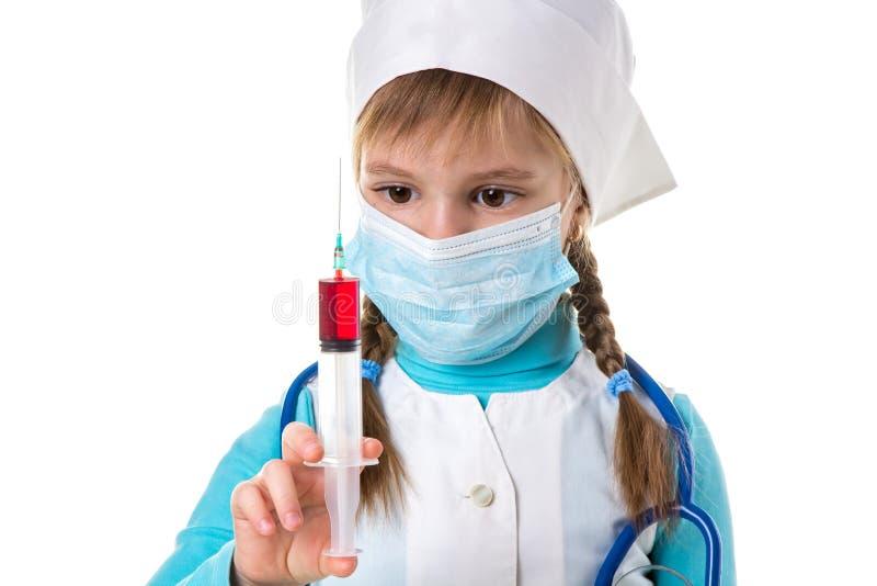 Weibliche Krankenschwester mit Spritzendroge, Behandlungskrankheit der hypodermatischen Einspritzung der Konzeptgrippeimpfungsimp stockbilder