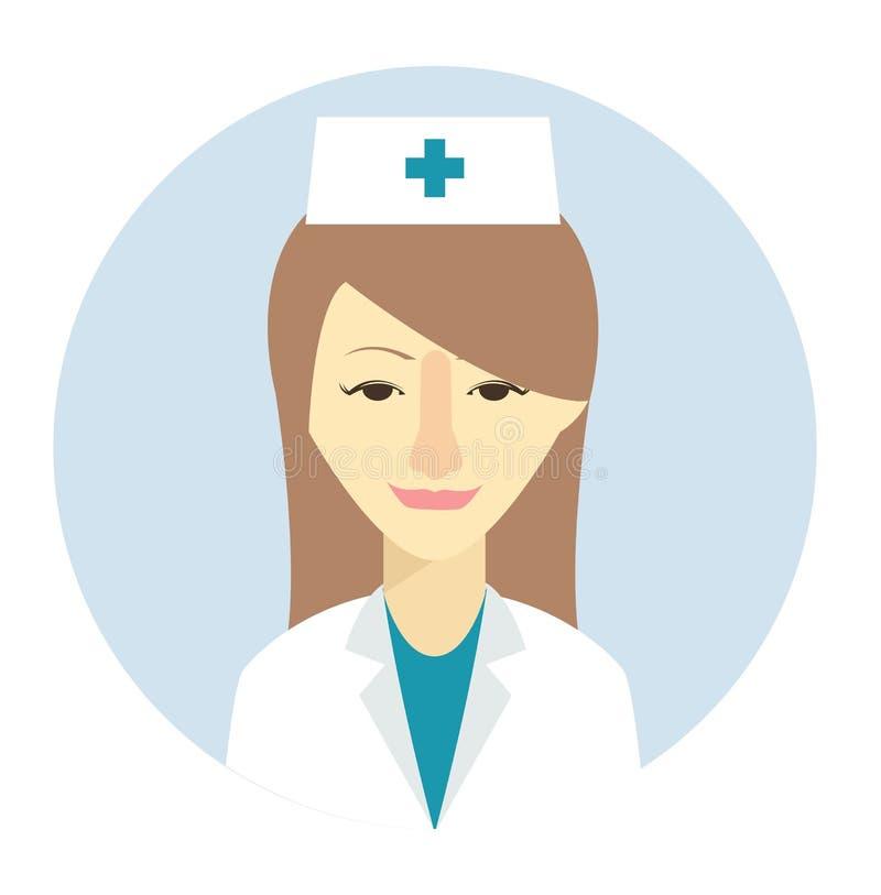 Weibliche Krankenschwesteravataraikone in der flachen Art Weibliche Benutzerikone Karikaturfrauenavatara Krankenschwesterfrauenav lizenzfreie abbildung