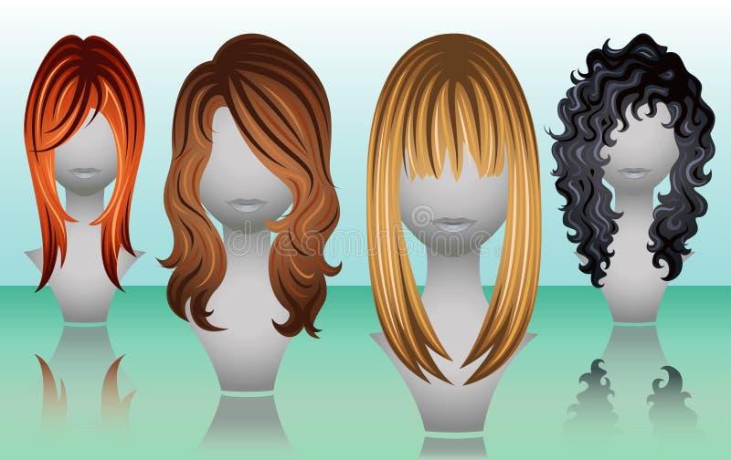 Weibliche lange Haarperücken in den natürlichen Farben lizenzfreie abbildung