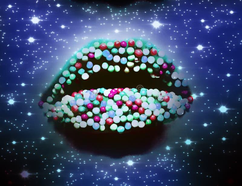 Weibliche Lippen mit buntem Süßigkeitsnahaufnahmemakro im blauen Neonlicht mit Sternen wie in Raum vektor abbildung