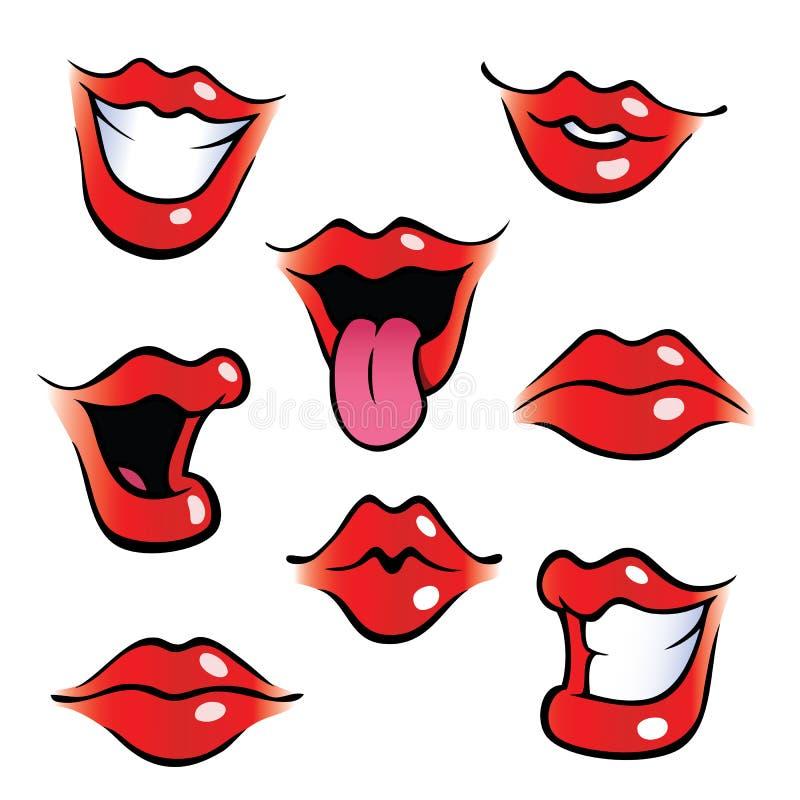 Weibliche Münder der Karikatur mit den glatten Lippen vektor abbildung