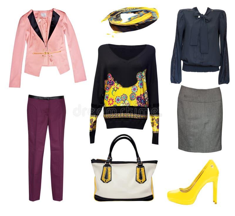 Weibliche Mode kleidet die lokalisierte Collage Klassische Büroabnutzung lizenzfreie stockbilder