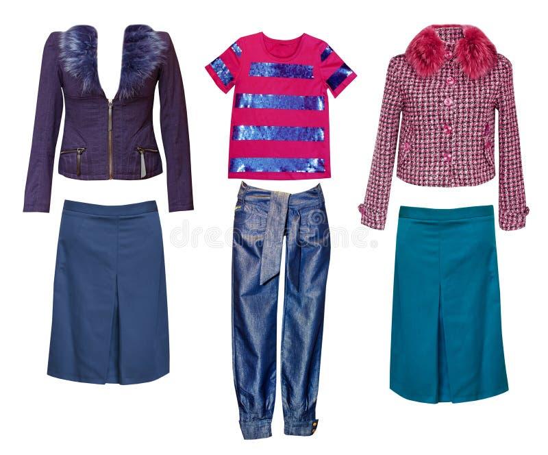 Weibliche Modekleidung eingestellt Frauenabnutzungscollage lizenzfreie stockbilder