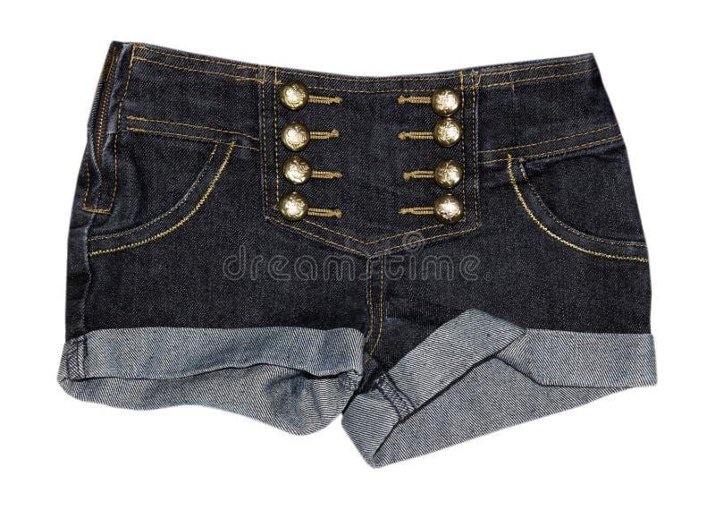 Weibliche Nahaufnahme der Denimkurzen jeanshose lokalisiert stockfotos