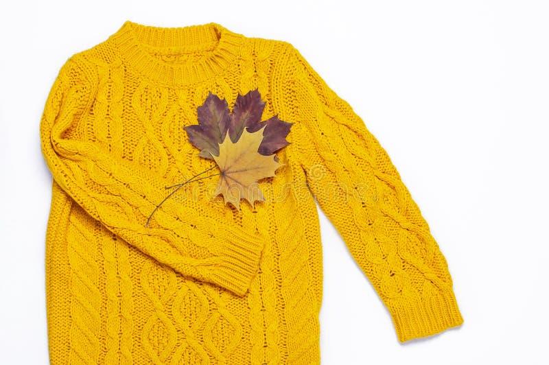 Weibliche orange gestrickte Strickjacke und Herbstlaub auf weißer flacher Lage der Draufsicht des Hintergrundes Mode-Dame gemütli stockbild