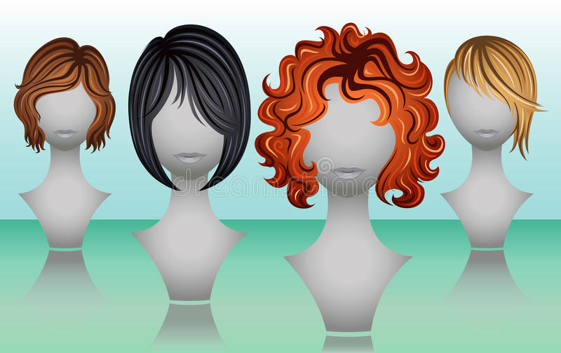 Weibliche Perücken des kurzen Haares in den natürlichen Farben stockfotos