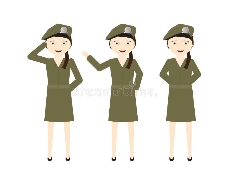 Weibliche Soldaten mit grünem einheitlichem Rock und verschiedenen Haltungen - stehen Sie, hallo, Gruß lizenzfreie abbildung