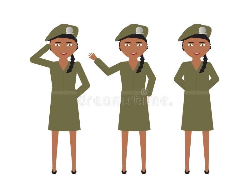 Weibliche Soldaten mit grünem einheitlichem Rock und verschiedenen Haltungen - stehen Sie, hallo, Gruß vektor abbildung