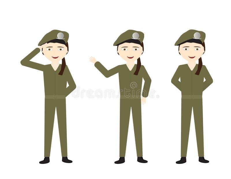 Weibliche Soldaten mit grüner Uniform und verschiedenen Haltungen - stehen Sie, hallo, Gruß vektor abbildung