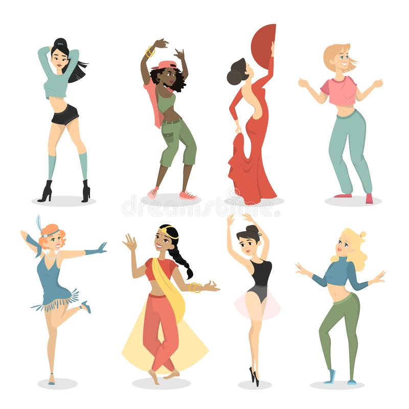 Weibliche Tänzer eingestellt lizenzfreie abbildung