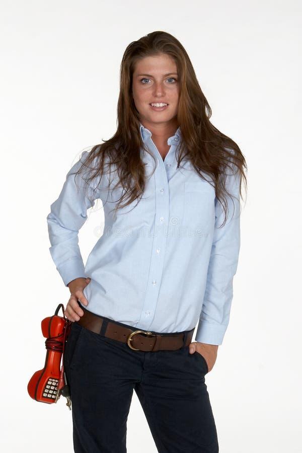 Weibliche Technologie mit Kolben-Set lizenzfreies stockfoto