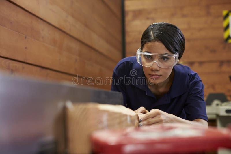 Weibliche Tischler-Using Plane In-Holzbearbeitung Woodshop lizenzfreies stockbild