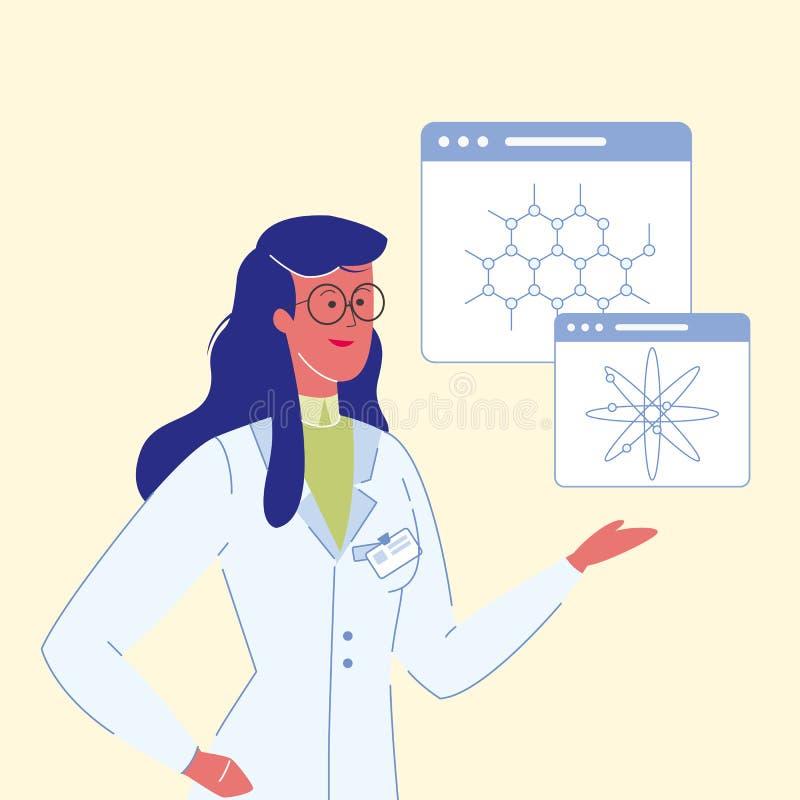 Weibliche Wissenschaftler-Karikatur-Vektor-Illustration stock abbildung