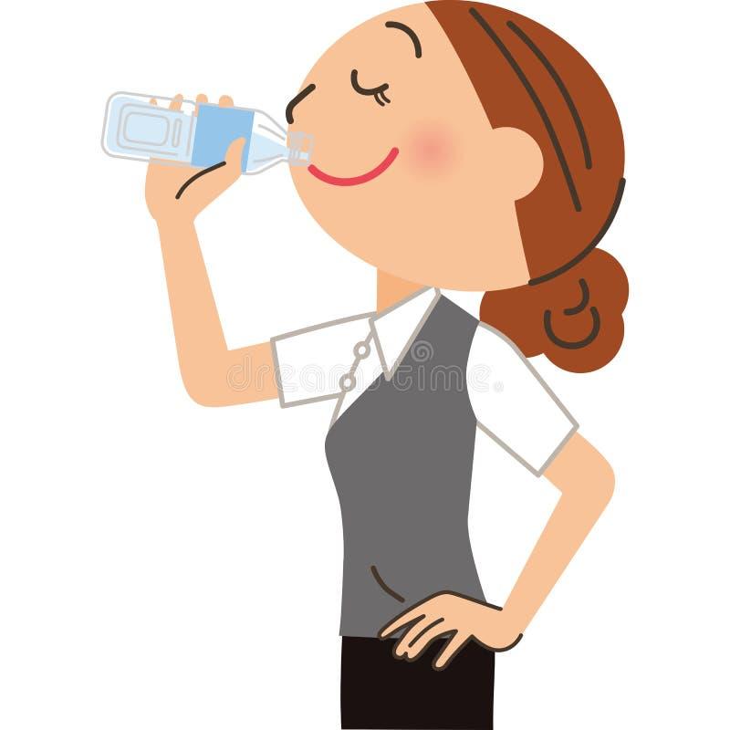 Weiblicher Angestellter, der Getränke trinkt stock abbildung