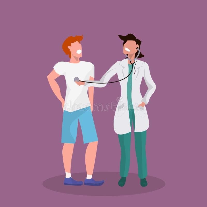Weiblicher Arzt mit Stethoskop geduldige Atemfrau im einheitlichen hörenden Manngesundheitswesen-Konzeptmann überprüfend vektor abbildung