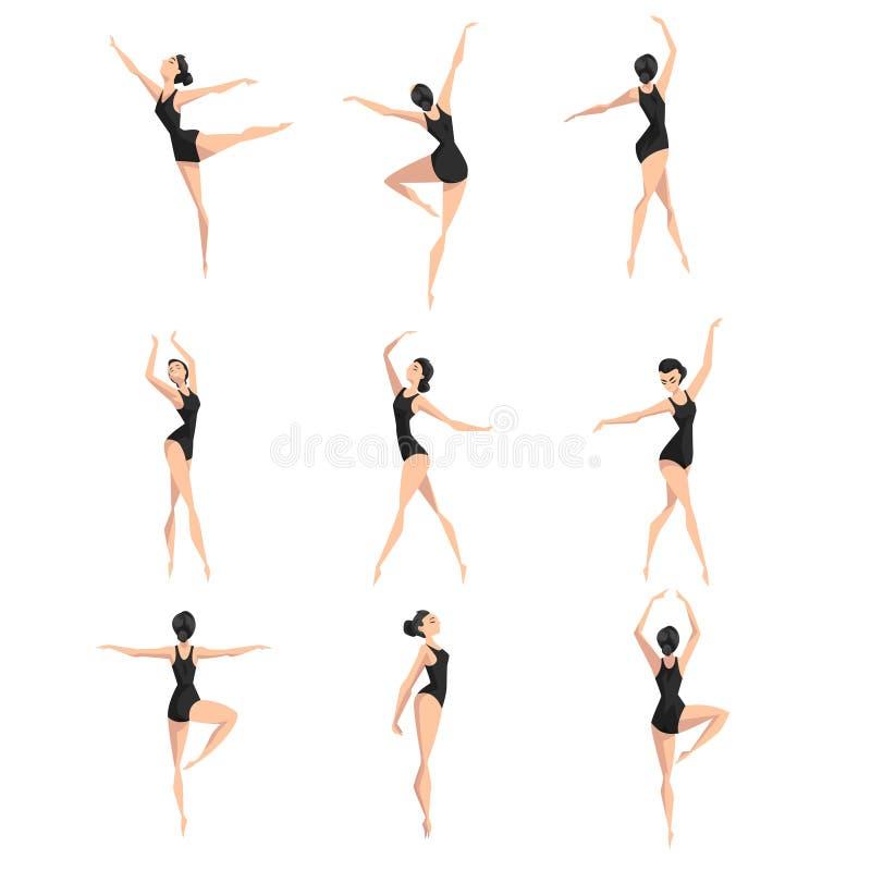 Weiblicher Balletttänzersatz, schöne dünne Ballerina, die klassische Tanzvektor Illustration auf einem weißen Hintergrund tanzt stock abbildung