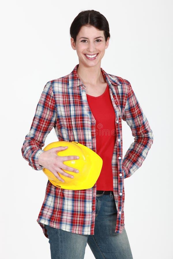 Weiblicher Bauarbeiter lizenzfreies stockfoto