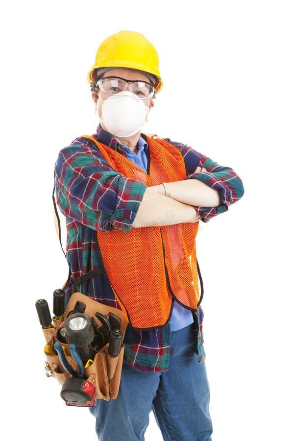Weiblicher Bauarbeiter - Sicherheit stockbild