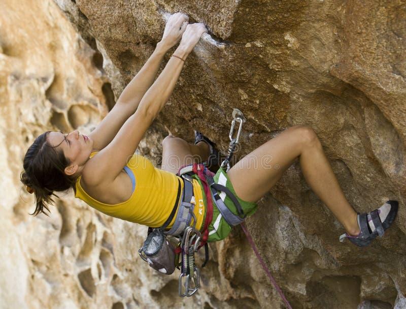 Weiblicher Bergsteiger, der einer Klippe anhaftet. lizenzfreies stockbild