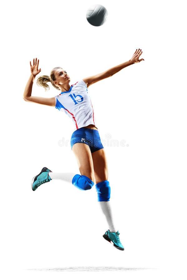 Weiblicher Berufsvolleyballspieler lokalisiert auf Weiß lizenzfreie stockfotos