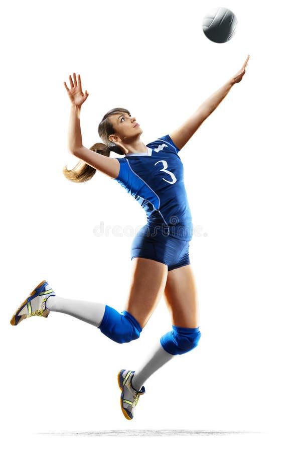 Weiblicher Berufsvolleyballspieler lokalisiert auf Weiß stockbilder