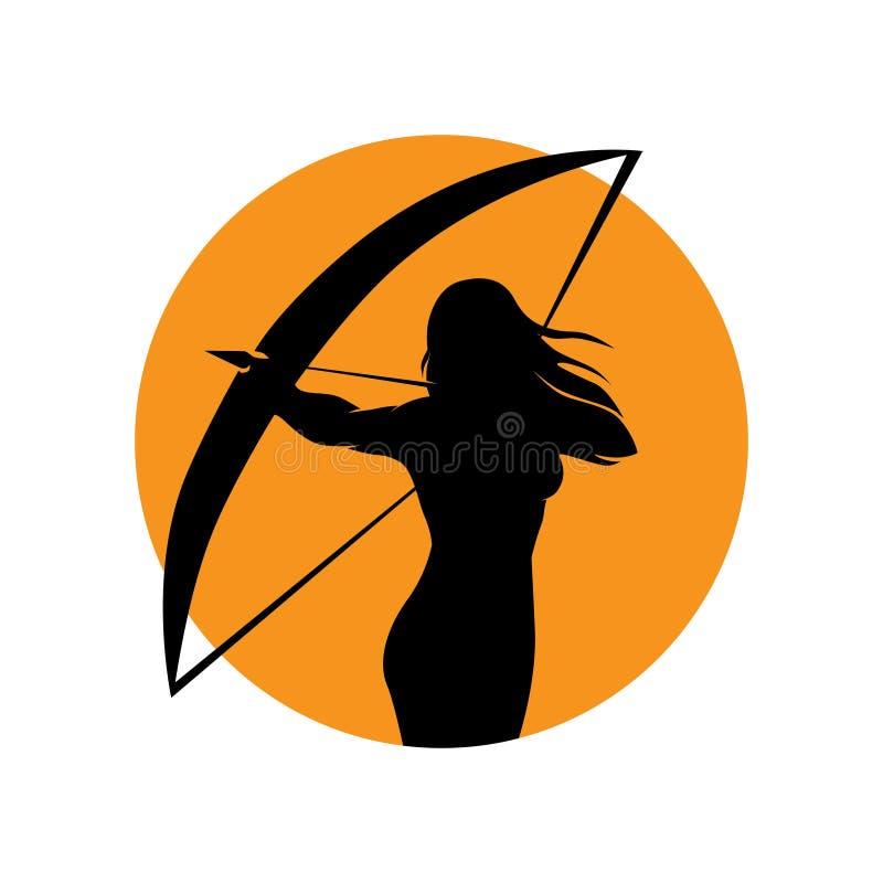 Weiblicher Bogenschütze lizenzfreie abbildung
