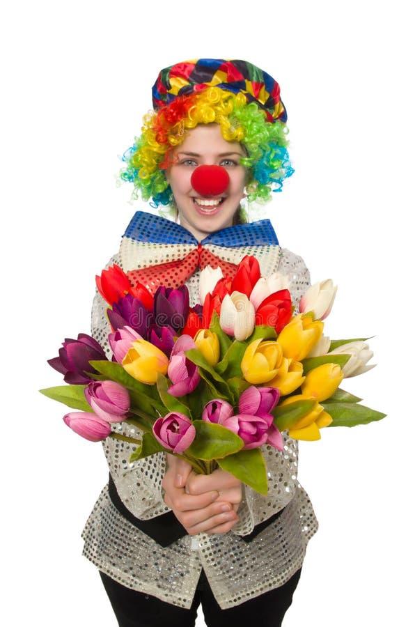 Weiblicher Clown auf Weiß lizenzfreie stockfotos