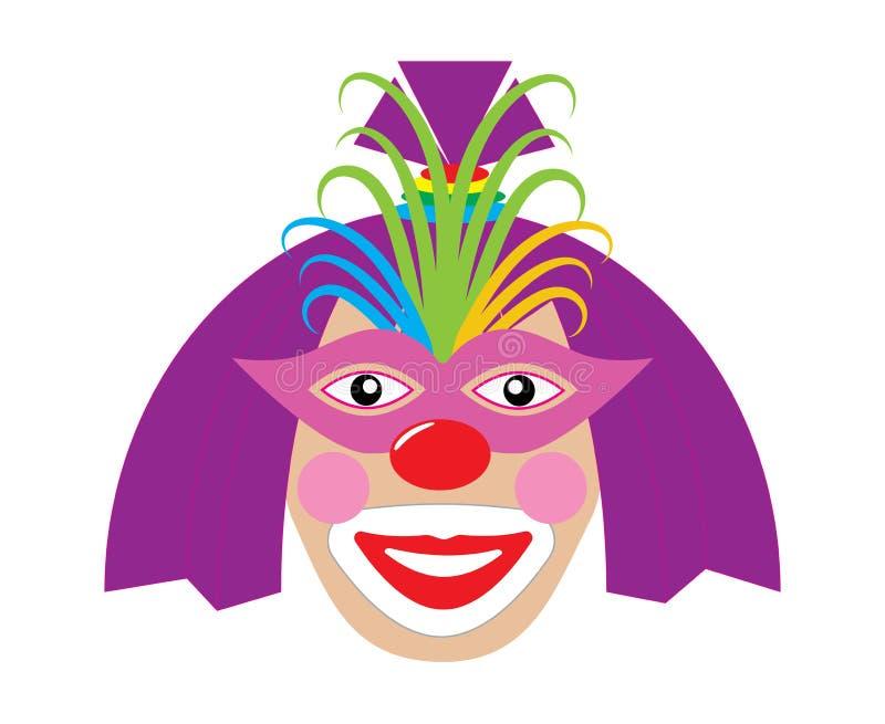 Weiblicher Clown mit heller Perücke und Maske Vektor lizenzfreie abbildung
