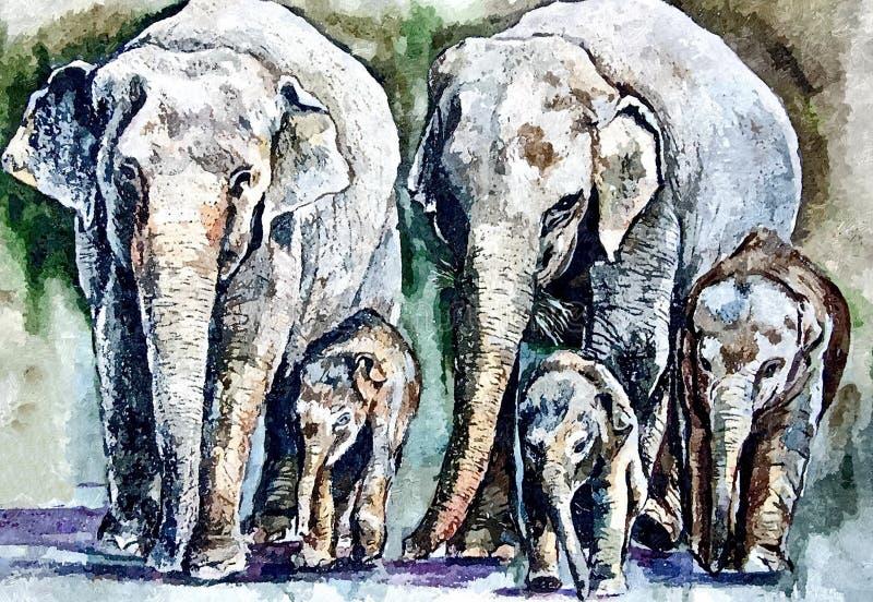 Weiblicher Elefant und Schätzchenelefant Malendes nasses Aquarell auf Papier Naive Kunst Zeichnungsaquarell auf Papier vektor abbildung