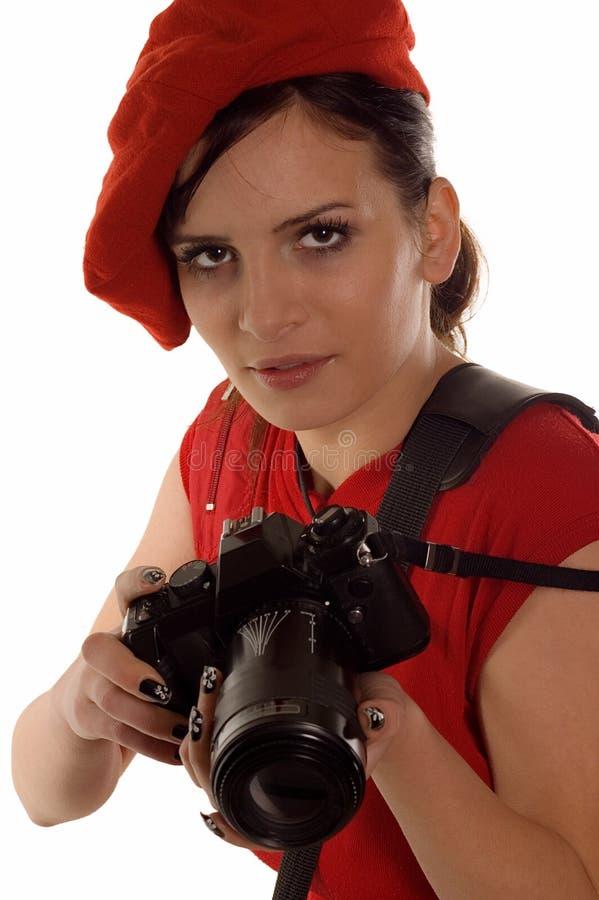 Weiblicher Fotograf stockfoto