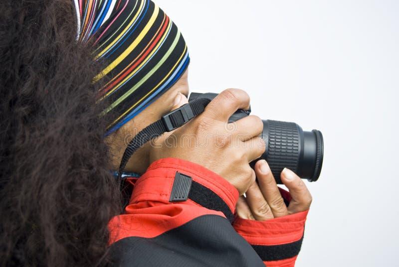 Weiblicher Fotograf stockbild
