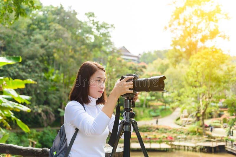 Weiblicher Fotograf, der Fotos von Blumen macht lizenzfreies stockfoto